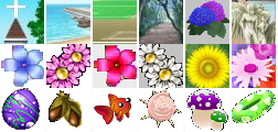 場所は教会、浜辺、校庭、森、日本庭園、天使像前。目印の花は青、桃色、赤、白、黄色、いろいろ。宝物はボール、どんぐり、魚、貝殻、キノコ、浮き輪。